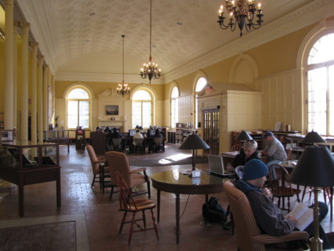 The reading room of the Mason Library in Great Barrington, Mass.