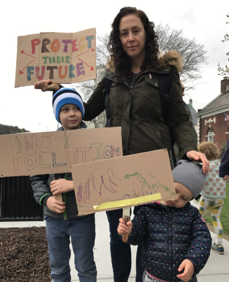 A family of activists from Egremont: Naomi Mersky, with Jonah, 6, and Arlie, 2. 'My kids are young activists,' she said. 'My kids went on the Women's March, too.' Photo: Marcie Setlow