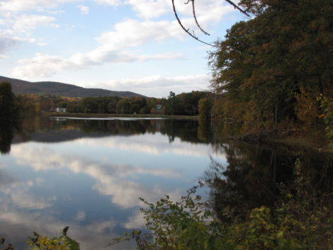 The western banks of Rising Pond (at right) would become a PCB landfill, under the GE proposal. Photo: David Scribner