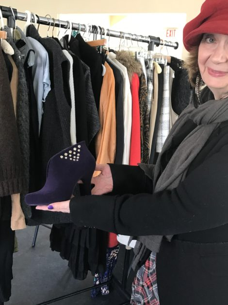 Vicki Bonnington shows boots by Melissa that will be for sale at BerkChique! Photo: Marcie Setlow