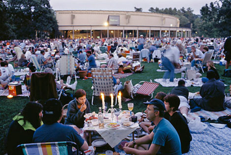 The lawn at Tanglewood during a performance in The Shed by the Boston Symphony Orchestra.