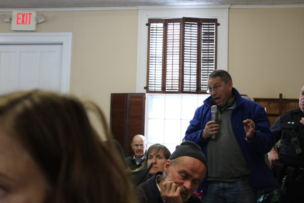 Egremont resident Steve Cohen requests information on providing Internet service to low-income residents at an April meeting of the Egremont Board of Selectmen. Photo: Terry Cowgill