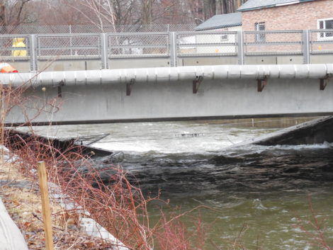 The Park Street Bridge, with one end of the collapse beam submerged in the Housatonic River. Photo: Terry Cowgill