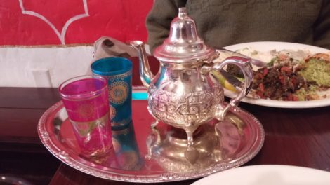 Moroccan sweet mint tea served in jeweled colored glasses. Photo: Anne Dwyer