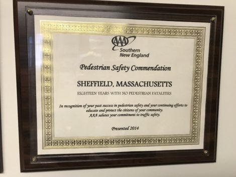 The 2014 citation from AAA commending Sheffield for pedestrian safety.