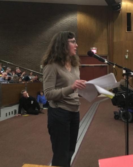 Planning Board Chair Brandee Nelson responds to an amendment to the solar panel siting bylaw. Photo: David Scribner