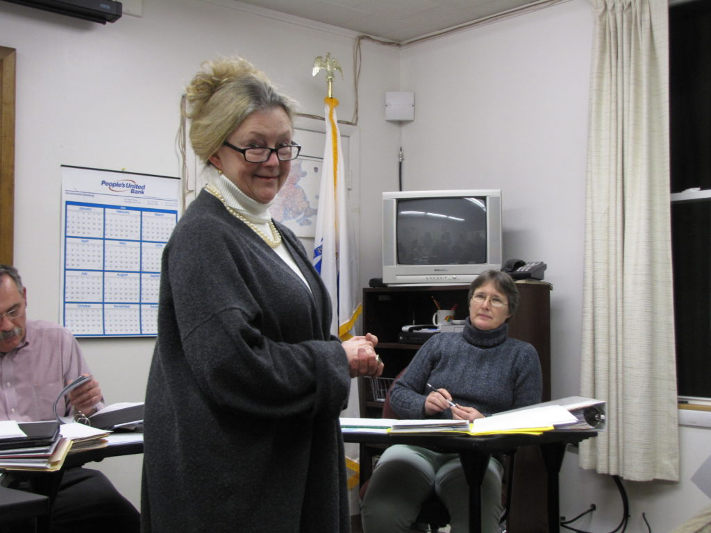 Susan Bachelder with Selectman Mary Brazie at the desk.