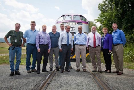 In the summer of 2014 Gov. Deval Patrick (third from right) boarded an MBTA train with rail and transportation officials that traveled from Pittsfield to Sheffield along the Housatonic Railroad to demonstrate the feasibility of restoring the traditional rail access to New York City.