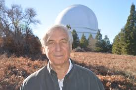 Jay Pasachoff in 2014 in front of the dome of the 200-inch telescope at the Palomar Observatory, which was the largest in the world for almost five decades