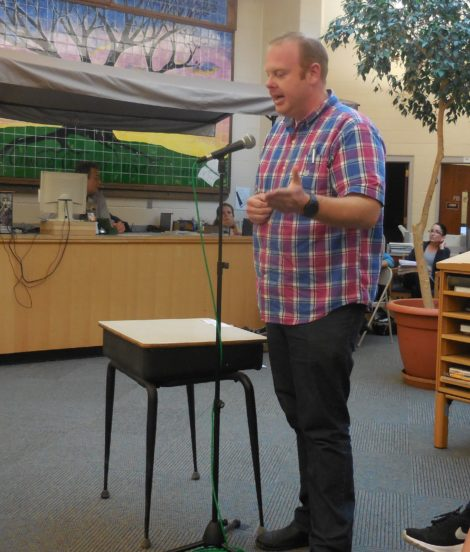 Parent Tim Schroepfer asks the School Committee not to make any more cuts to its budget. Photo: Terry Cowgill