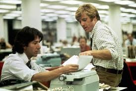 Dustin Hoffman as crusading Washington Post reporter Carl Bernstein (left) and Robert Redford as his colleague Bob Woodward in 'All the President's Men' about the uncovering of the Watergate caper and the downfall of President Richard Nixon.