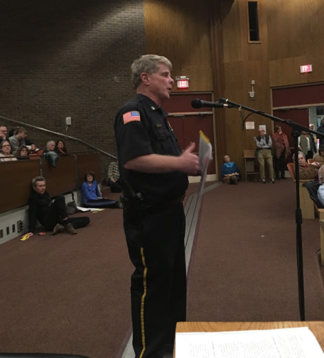 Police Chief William Walsh explaining his department's policies. Photo: David Scribner