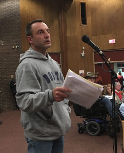 Steve Farina, expressing opposition to the Trust Policy. Photo: David Scribner