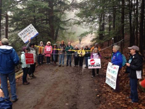 Protesters gather at Access Road 3 to prevent Tennessee Gas workmen from entering Otis State Forest. Photo: Will Elwell