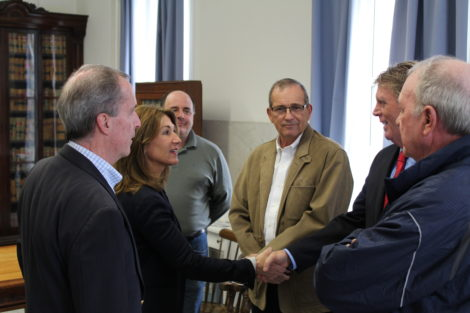 Polito meets officials from both towns, including Lee Selectman Tom Wickham, right. Photo: Terry Cowgill
