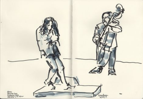 Reona Seo in the world premiere of 'Aun,' accompanied by bassist Takashi Seo. Illustration: Carolyn Newberger