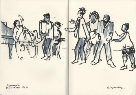Dancers Ian Berg, Starinah Dixon, Jumaane Taylor and Donnetta Jackson in Taylor's 'Supreme Love.' Illustration by Carolyn Newberger