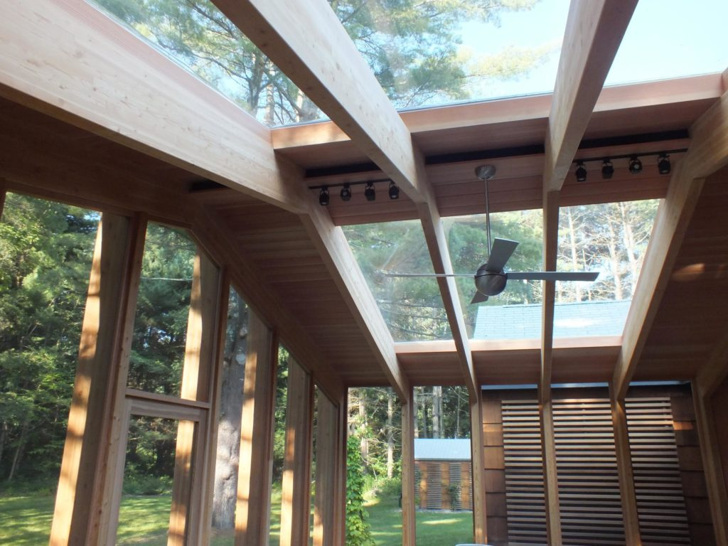 (2) 9' x 9' skylights maximize the sun and float above the structural fir beams. - Photo: Michael Alper