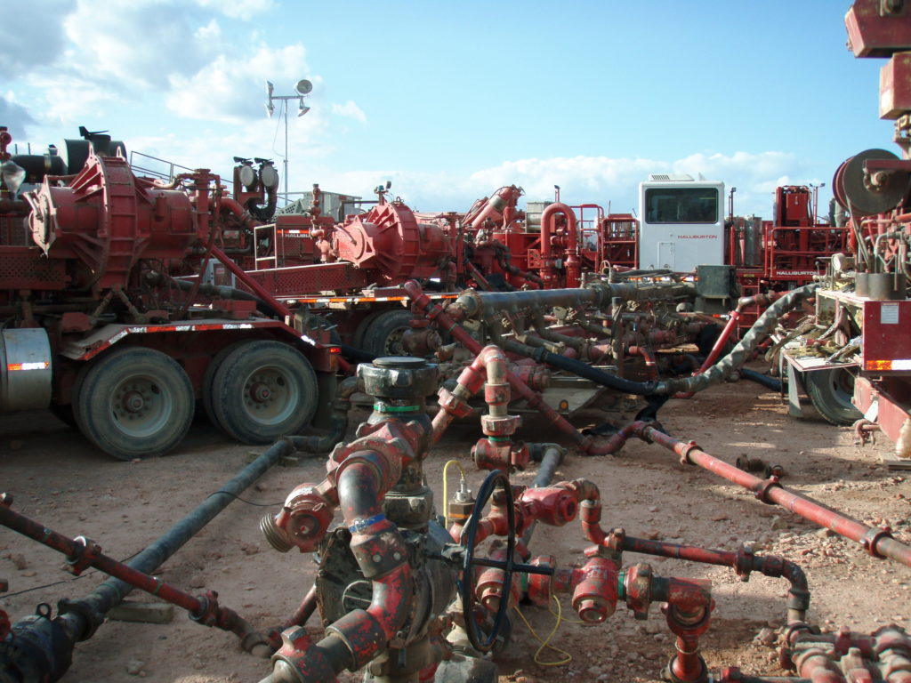 A Halliburton fracturing operation in the Bakken Formation, N.D. Image courtesy Wikipedia