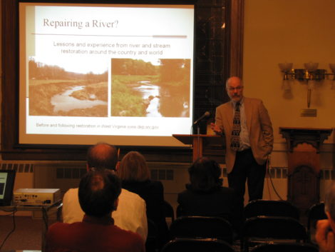 A presentation by Peter deFur at the First Congregational Church in Great Barrington, Mass. Photo: David Scribner