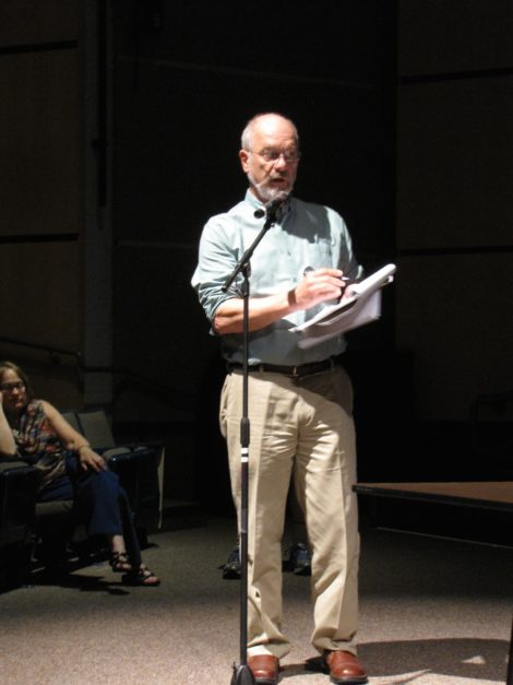 Biologist Peter deFur testifying at a Region I EPA hearing in Lenox. Photo: David Scribner