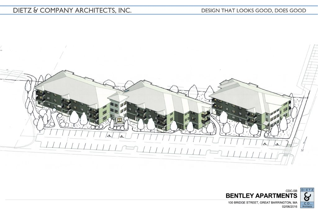 Still on the drawing boards, Bentley Apartments, proposed for 100 Bridge Street, Great Barrington – 45 new affordable apartments to be developed and owned by the CDC of South Berkshire Credit: Rendering by Dietz and Company, Architects