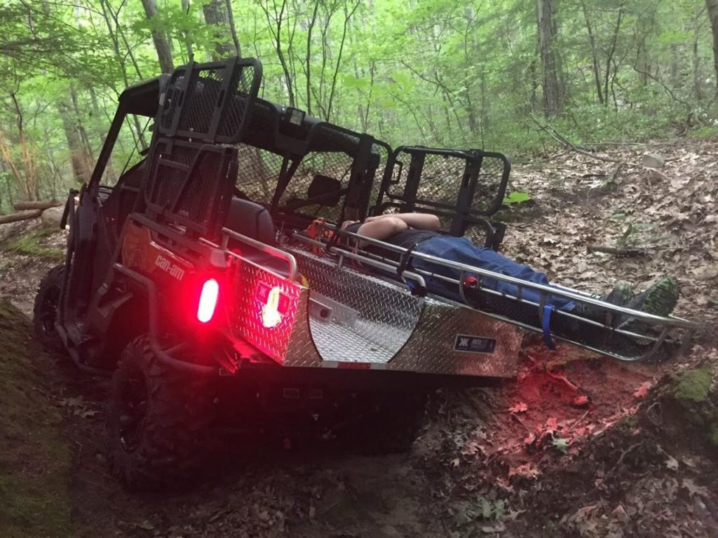 Equipped with a 'rescue body' for carrying a patient and equipment, the Great Barrington Fire Department's new UTV has proven to be an asset in its efforts to quickly and safely transport injured people. Photo courtesy Great Barrington Fire Department