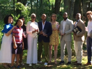 Artists selected for the residency. From left, Jill Rosenberg Jones and her son Jacob Jones. Then the artists, from left: Meclina Priestley, Cheryl R. Riley, Selwyn Garraway, Susan Powers, and Daniel Hibbert. At far right, Rufus Jonesand Ian Bickford - Provost, Simon's Rock.