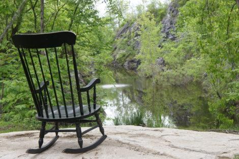 A rocking chair at the Art Park's quarry for contemplation. Photo: Hannah Van Sickle