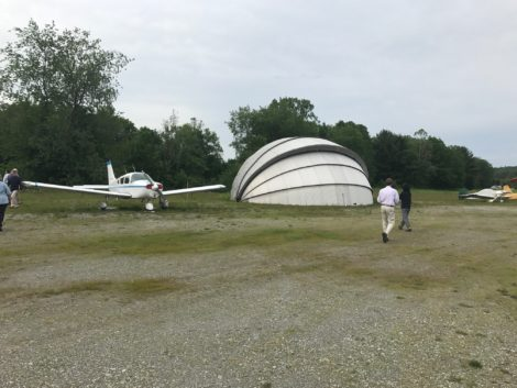 The so-called 'clamshell' hangar that will be removed to make way for the new hangars. Photo: Victor Feldman