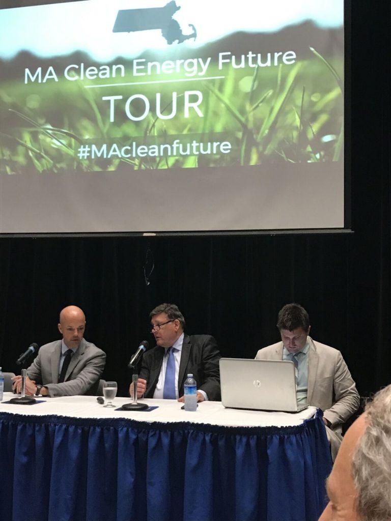 Panelists, from left: Sen. Adam Hinds, Sen. Marc Pacheco and legal aid Kyle Murray. Photo: Victor Feldman