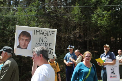 Bill Kitchen of Johnstown, N.Y. 'imagines' in the Otis State Forest what John Lennon would have to say about fracking. Photo: Terry Cowgill