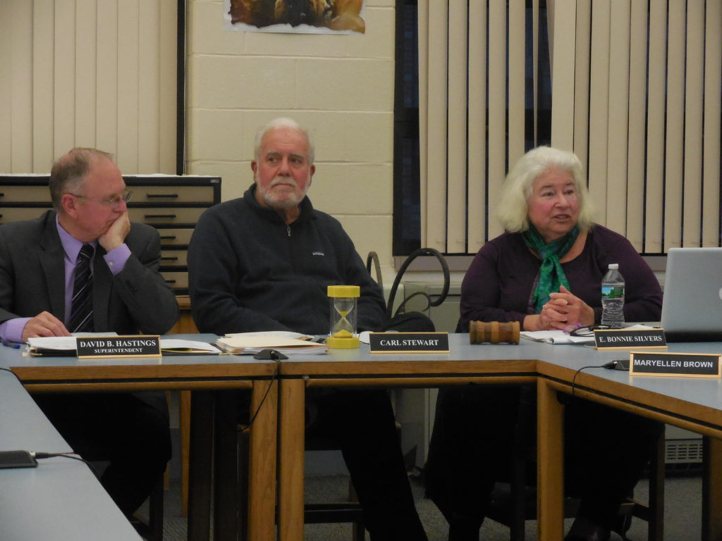 Officials of the Southern Berkshire Regional School District, from left: Superintendent David Hastings, school committee Chairman Carl Stewart and school committee member Bonnie Silvers. Photo: Terry Cowgill