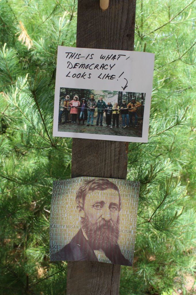 An image of Henry David Thoreau graces the interior of the cabin. Photo: Terry Cowgill