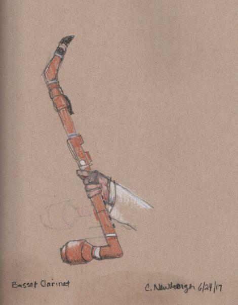 Basset clarinet. Illustration by Carolyn Newberger