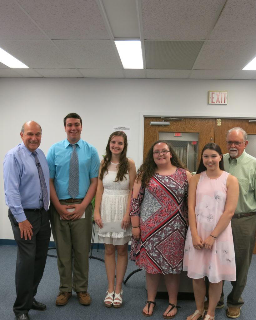 From left: BCArc president Kenneth W. Singer; scholarship winners Anthony Melski, Crystal Wojcik, Jessie Downer and Meghan Warner; Daniel Dillon.
