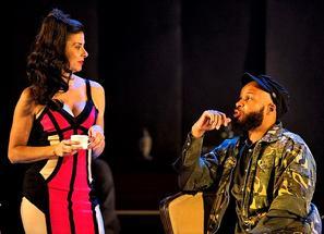 Jeanine Serralles as Natasha and Glenn Davis as Solyony. Photo: Daniel Rader