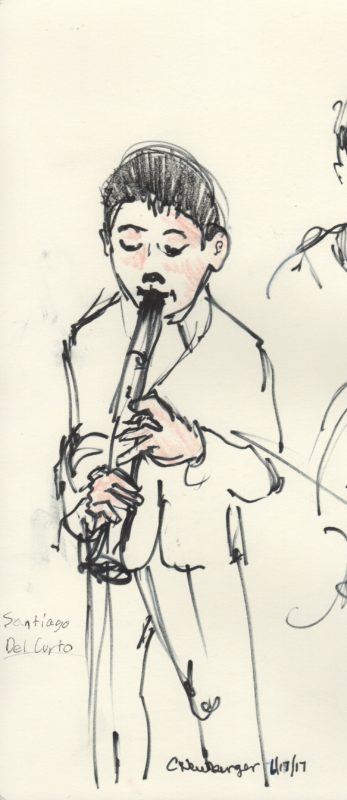 Eleven-year-old clarinetist Santiago Del Curto performing in 'Canto para ti.' Illustration: Carolyn Newberger