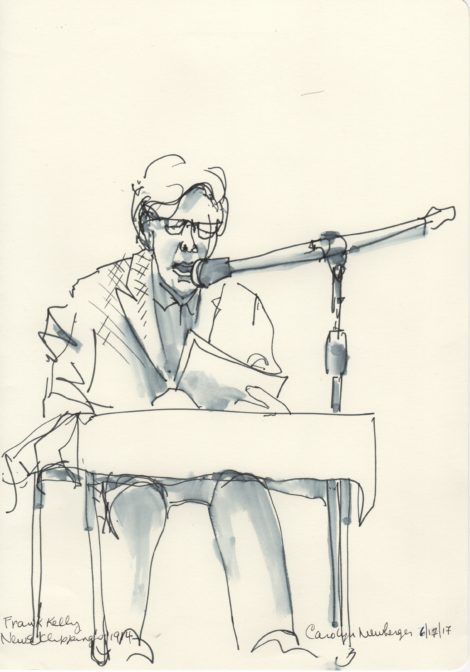 Tenor Frank Kelley doubled as the newscaster. Illustration: Carolyn Newberger