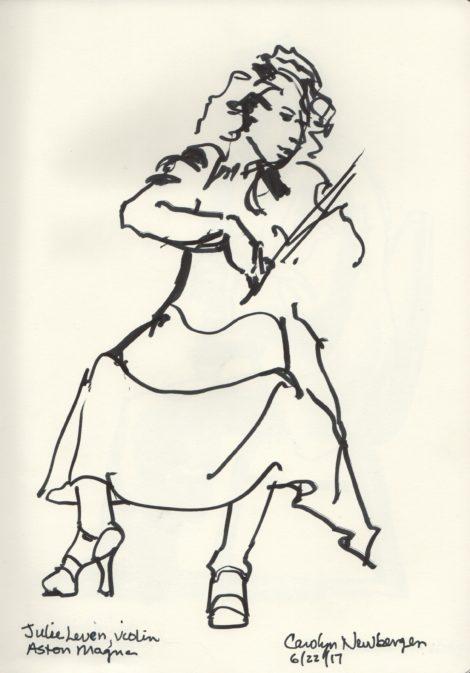 Violinist Julie Leven. Illustration by Carolyn Newberger