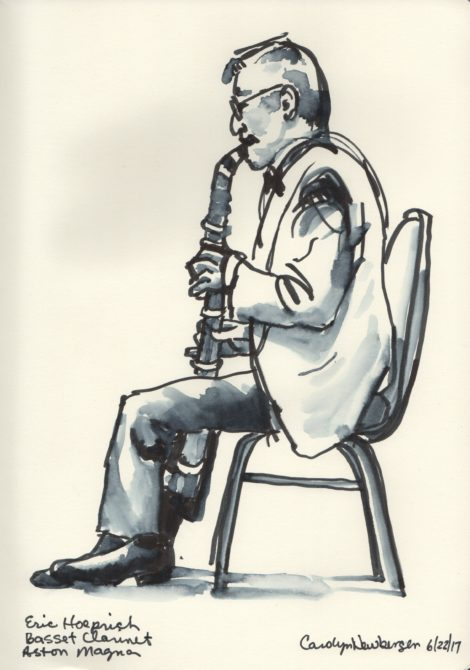 Eric Hoeprich on the basset clarinet. Illustration by Carolyn Newberger