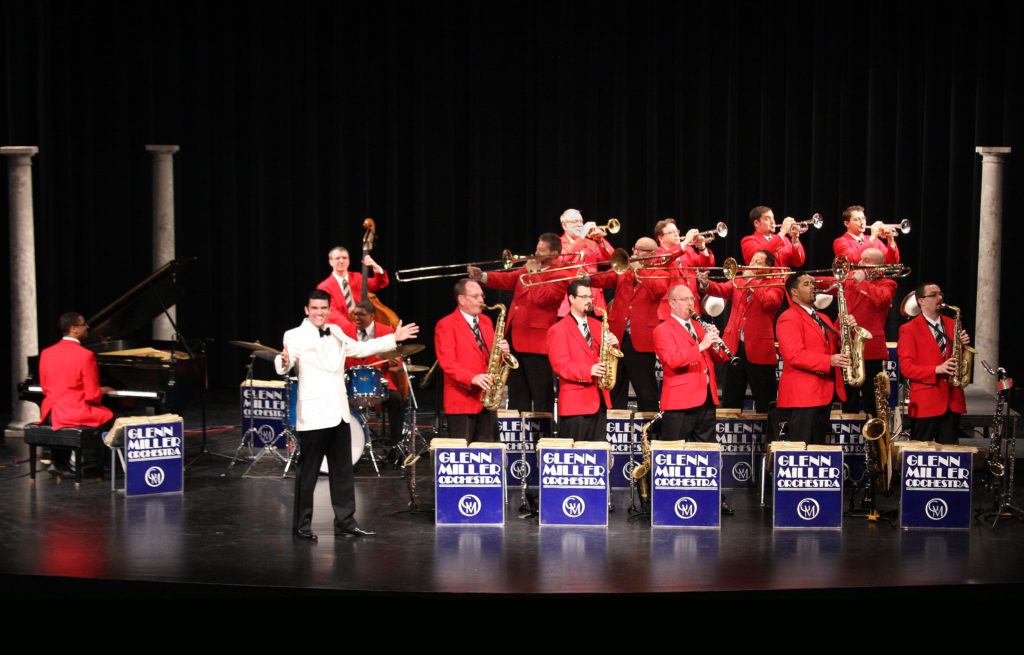 The Glenn Miller Orchestra with its band leader, Nick Hilscher. Photo courtesy Glenn Miller Orchestra