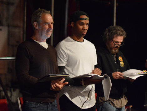 Nigel Gore, Deaon Griffin-Pressley,and Jason Asprey in rehearsal for 'Cymbeline.' Photo by: Olivia Winslow