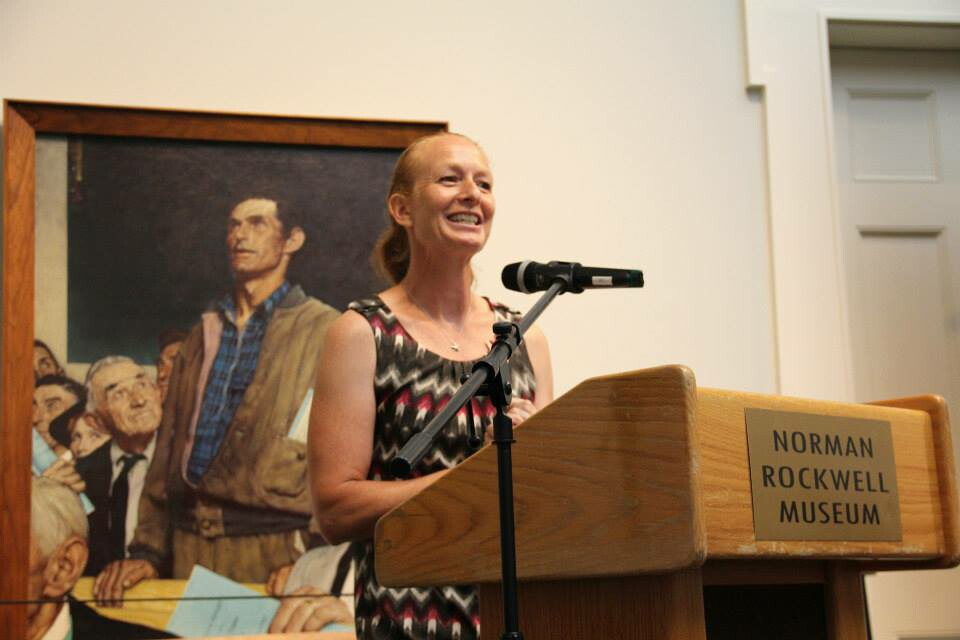 Hilary Greene, shown here at a 2015 swearing-in ceremony for new American citizens at the Norman Rockwell Museum in Stockbridge, has stepped down from her position as director of the Berkshire Immigrant Center.