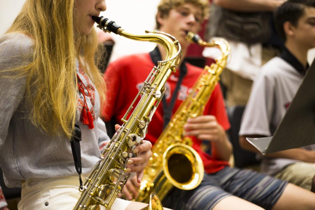 The Monument Mountain Regional High School Jazz Ensemble rehearsing. Photo: Sydney Keyes