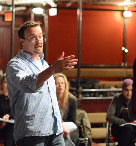 Josh Aaron McCabe as 'Cymbeline,' in rehearsal at Shakespeare and Company. Photo by: Olivia Winslow