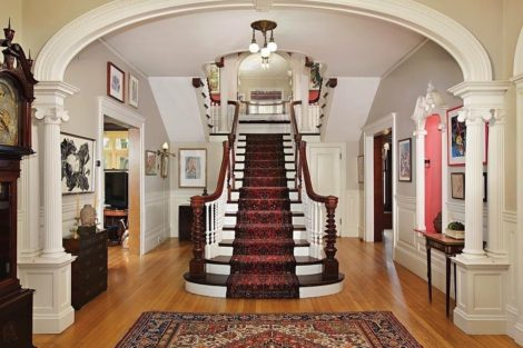 The staircase in our Brookline home. Photo by Carolyn Newberger