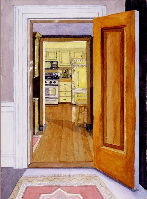The 'night kitchen' in our Brookline Home. Watercolor by Carolyn Newberger
