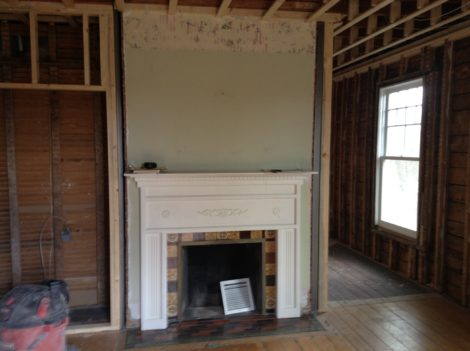 Fireplace before. Photo: Jennifer Owen