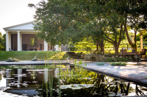The reflecting pool and sleeping pavilion at MeadowWood. Photo: Lisa Vollmer Photography
